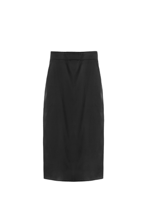 formal dressing: Black silk pencil skirt isolated over white Stock Photo