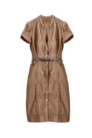 Brown cotton button-down dress on white background