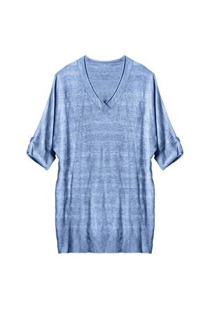oversize: Blue knitted oversize pullover isolated over white
