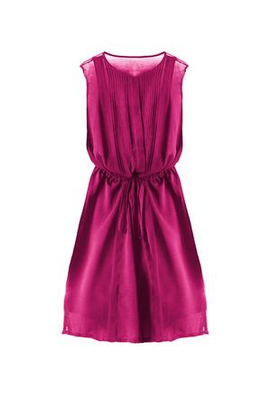 sleeveless dress: Chiffon pink sleeveless dress on white background