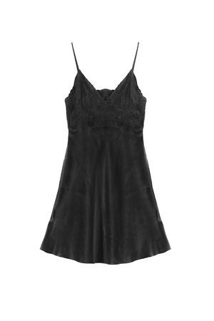 nightgown: Black satin lacy nightgown isolated over white
