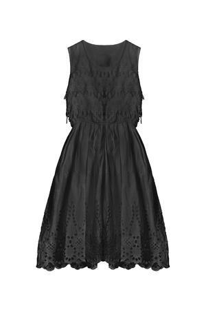 sleeveless dress: Black lacy sleeveless dress on white background Stock Photo