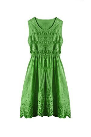 sleeveless: Lacy green sleeveless dress isolated over white