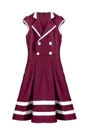 maroon: Maroon sailor dress on white background