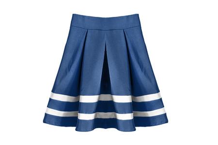 uniform skirt: Blue pleated school uniform skirt on white background Stock Photo