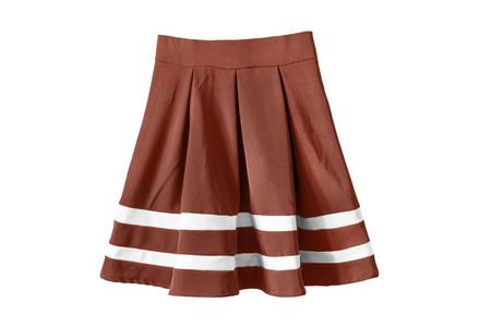 pleated: Brown pleated sailor skirt isolated over white Stock Photo