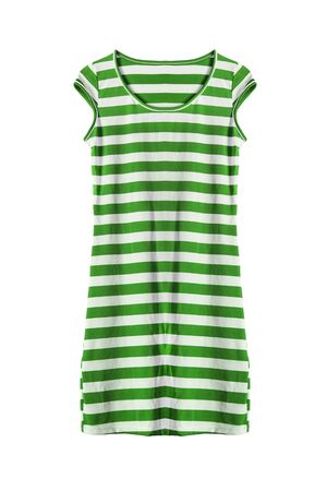 Green and white striped tunic isolated over white Stock Photo