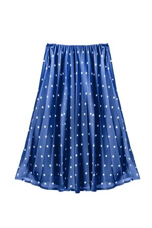 Retro blauwe geplooide rok die over wit wordt geïsoleerd