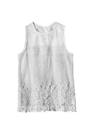 sleeveless top: White lacy sleeveless top on white background