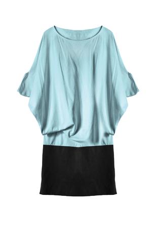 oversize: Blue draped oversize dress isolated over white