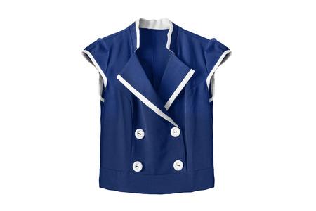 blusa: blusa de uniforme escolar azul aislado más de blanco Foto de archivo
