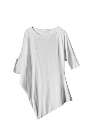 tunic: Asymmetric white oversize tunic isolated over white Stock Photo