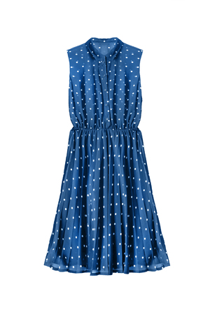pleated: Blue chiffon sleeveless dress with pleated skirt isolated over white
