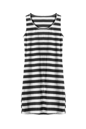 tank top: Black and white striped tank top isolated over white Stock Photo