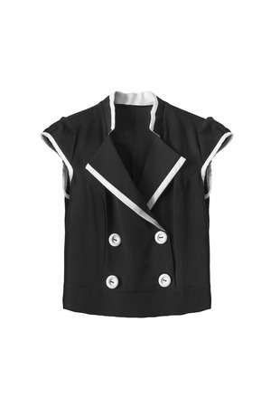 girlish: Black girlish school uniform top on white background Stock Photo