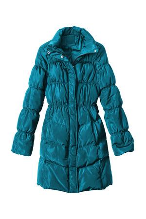 anorak: Blue down coat on white background