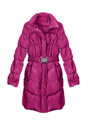 anorak: Pink down jacket isolated over white