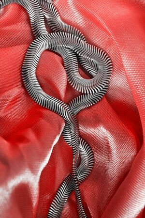 draped: Silver chain on draped red satin as a background Stock Photo