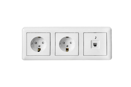 sockets: Group of power and telephone sockets on white background Stock Photo