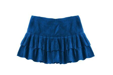 blue velvet: Blue velvet mini skirt with frills isolated over white Stock Photo