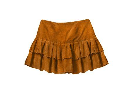 mini falda: Mini falda de terciopelo de color amarillo aislado m�s de blanco Foto de archivo