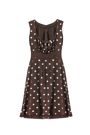sleeveless dress: Brown knitwear sleeveless dress with polka dots isolated over white