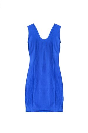formal dressing: Blue sleeveless mini dress isolated over white Stock Photo