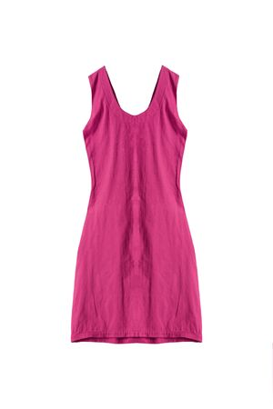 magenta dress: Magenta pink sleeveless dress isolated over white Stock Photo