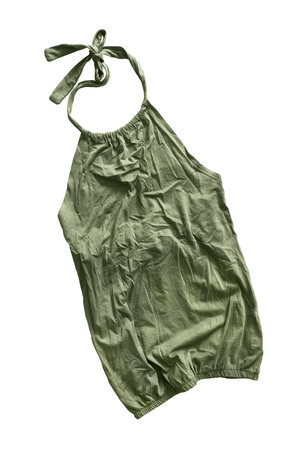 halter: Khaki crumpled halter top isolated over white