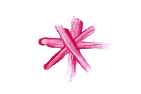 gloss: Pink lip gloss mark on white background