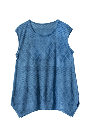 sleeveless: Blue lacy sleeveless top isolated over white Stock Photo