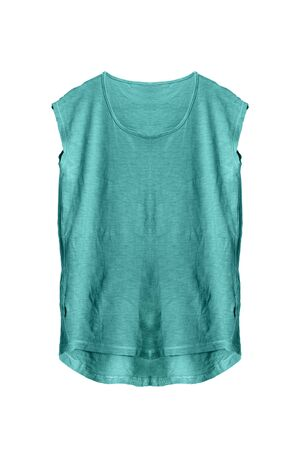 sleeveless: Blue sleeveless casual top on white background
