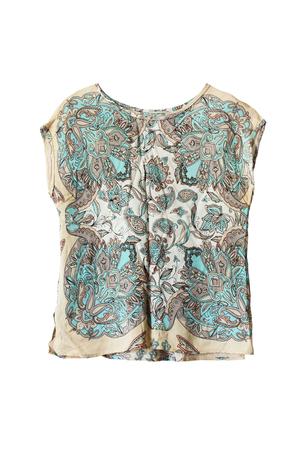 sleeveless top: Silk ethnic sleeveless top isolated over white Stock Photo