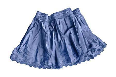 girlish: Crumpled blue girlish skirt on white background Stock Photo