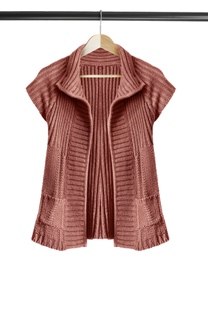 knitted jacket: Brown knitted jacket on clothes rack isolated over white