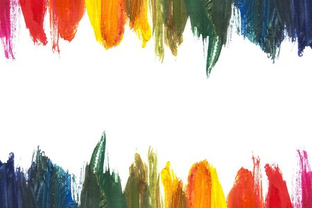 colorful frame: Rainbow colors streaks of paint on white background Stock Photo