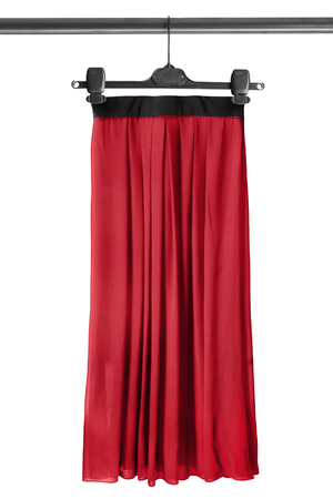 maxi: Red maxi skirt on clothes rack isolated over white