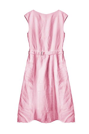 cotton dress: Basic pink cotton dress isolated over white Stock Photo