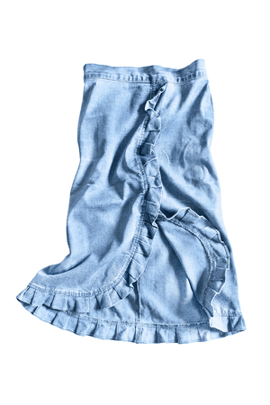 denim skirt: Crumpled blue denim skirt on white background