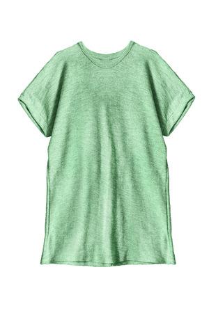 oversize: Green oversize tunic on white background