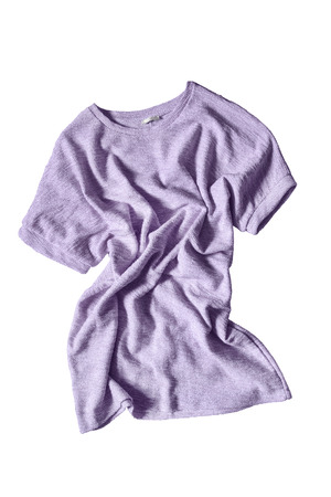 cotton dress: Crumpled purple cotton dress isolated over white