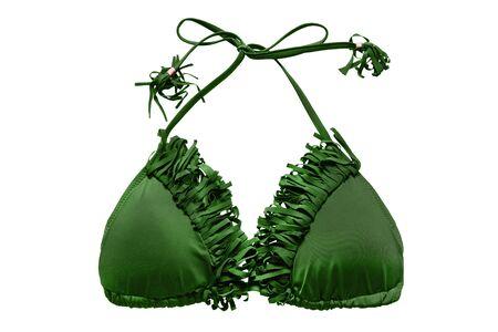 bikini top: Green bikini top with fringe isolated over white Stock Photo
