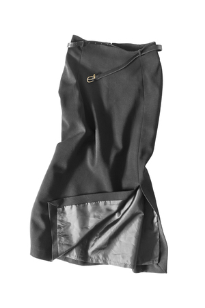 pencil skirt: Crumpled black pencil skirt isolated over white