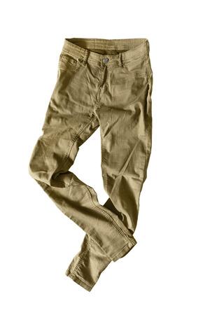 khaki pants: Casual khaki pants on white background Stock Photo