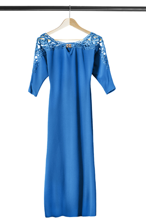 formal dressing: Blue silk lacy gown on wooden clothes rack isolated over white