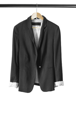 formal dressing: Black formal jacket on wooden clothes rack isolated over white