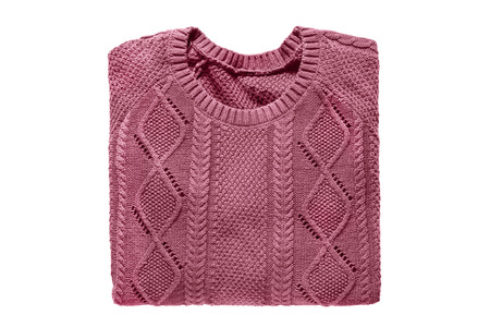 pullover: Pink folded sweater on white background