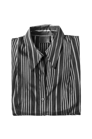 formal dressing: Black striped blouse folded on white background