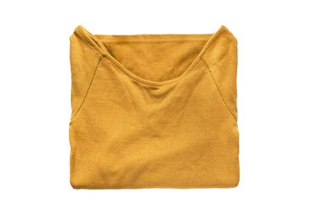 sweatshirt: Folded yellow sweatshirt isolated over white