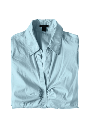 formal dressing: Folded blue shirt isolated over white